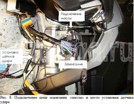 Подключение цепи зажигания, «массы» и место установки датчика удара.