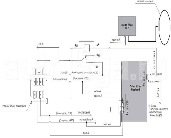 Схема электрическая автосигнализации.